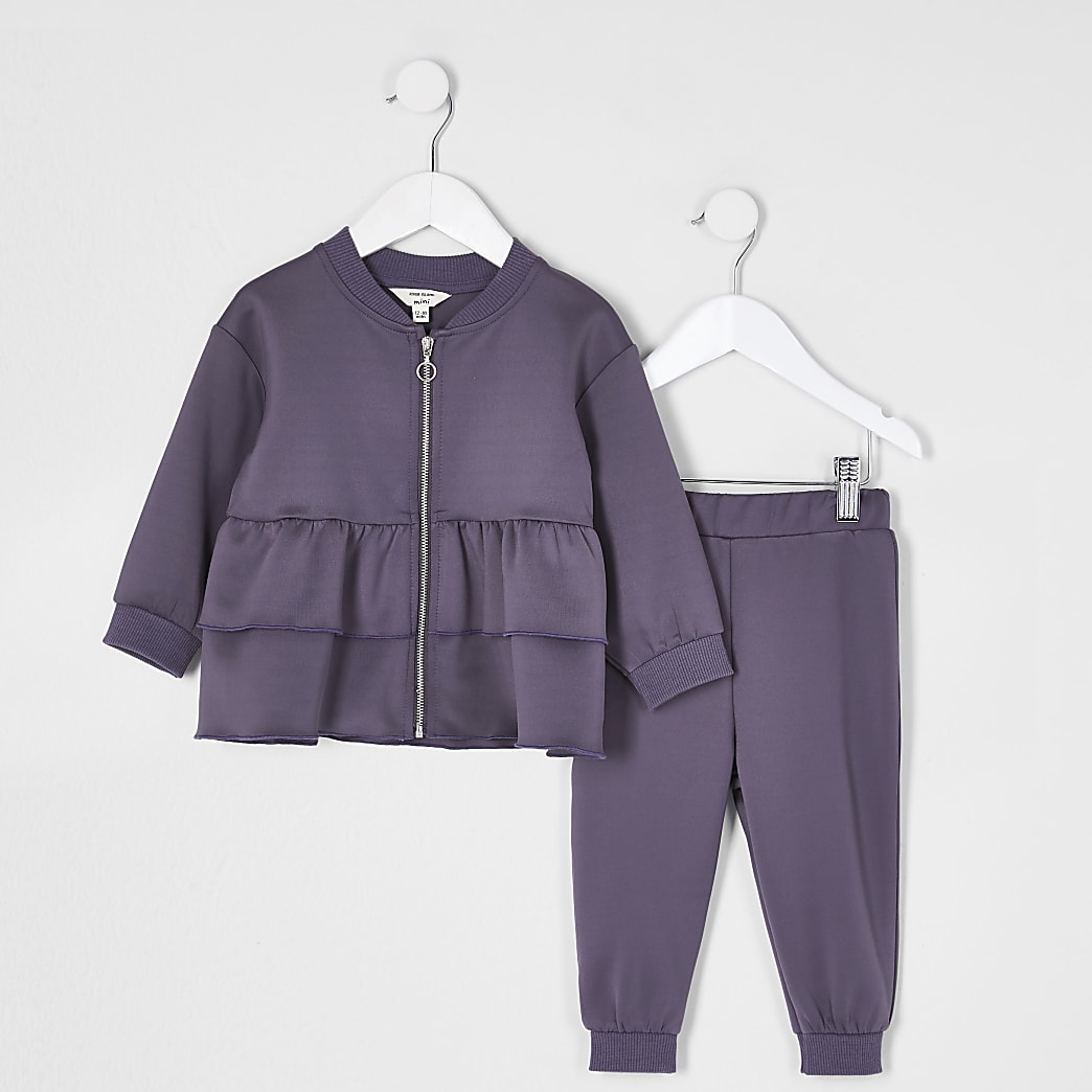 Mini girls grey scuba frill tracksuit