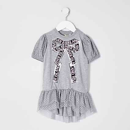 Mini girls grey sequin bow t-shirt dress