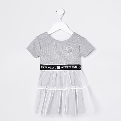 Mini girls grey skater tulle dress