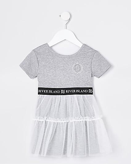 Mini girls grey skater tulle dress