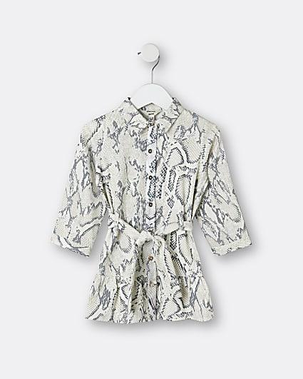 Mini girls grey snake print shirt dress