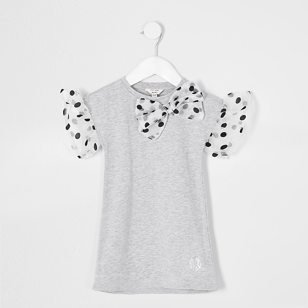 Mini girls grey spot organza T-shirt dress