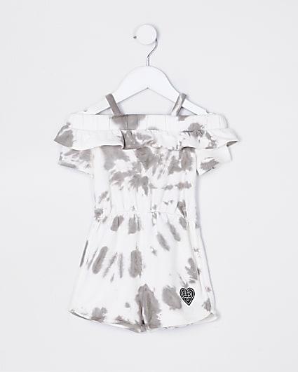 Mini girls grey tie dye playsuit
