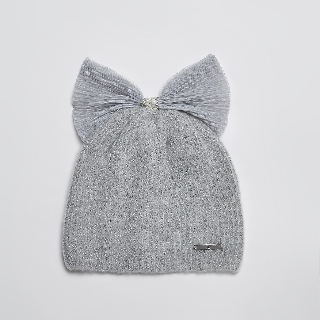 Mini girls grey tulle bow pearl beanie hat