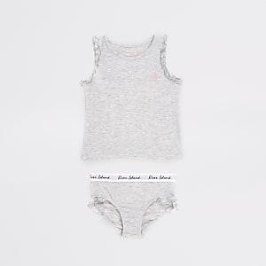 Mini - Grijs vest outfit met eenhoornprint voor meisjes