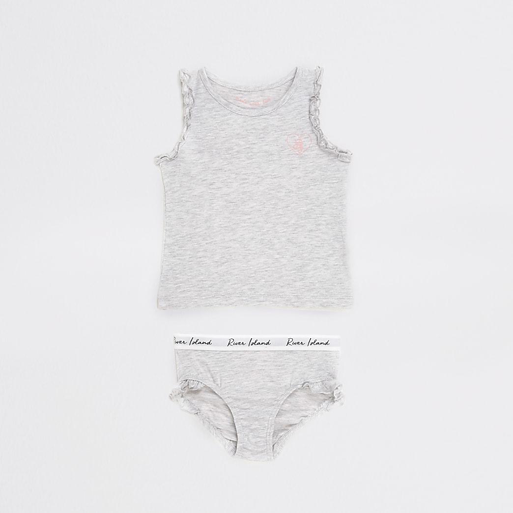 Mini girls grey unicorn printed vest outfit