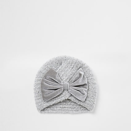 Mini girls grey velvet bow turban