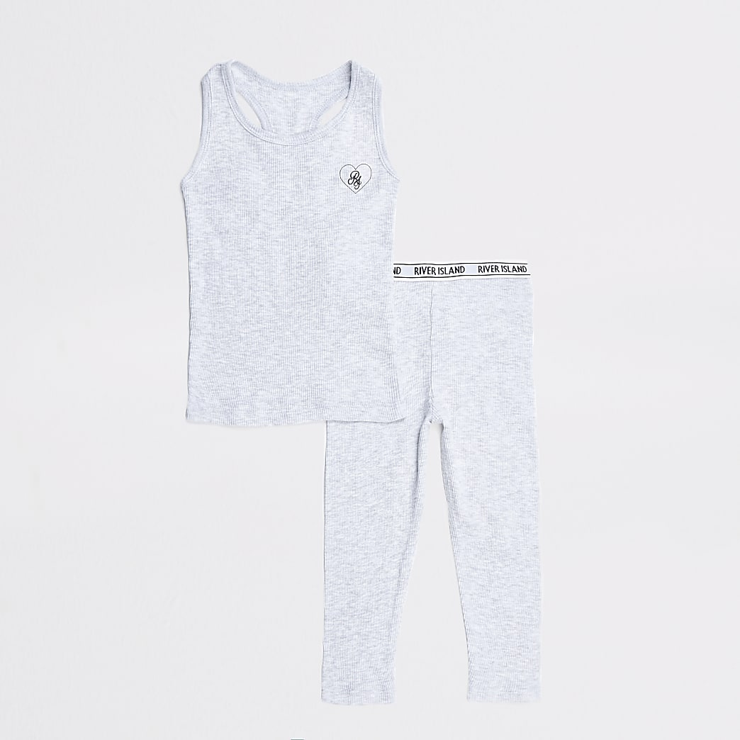 Mini girls grey vest outfit