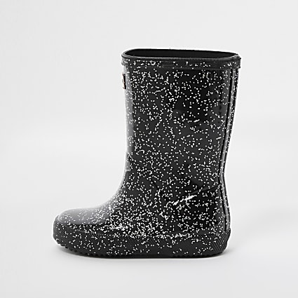 Mini girls Hunter black glitter wellie boots