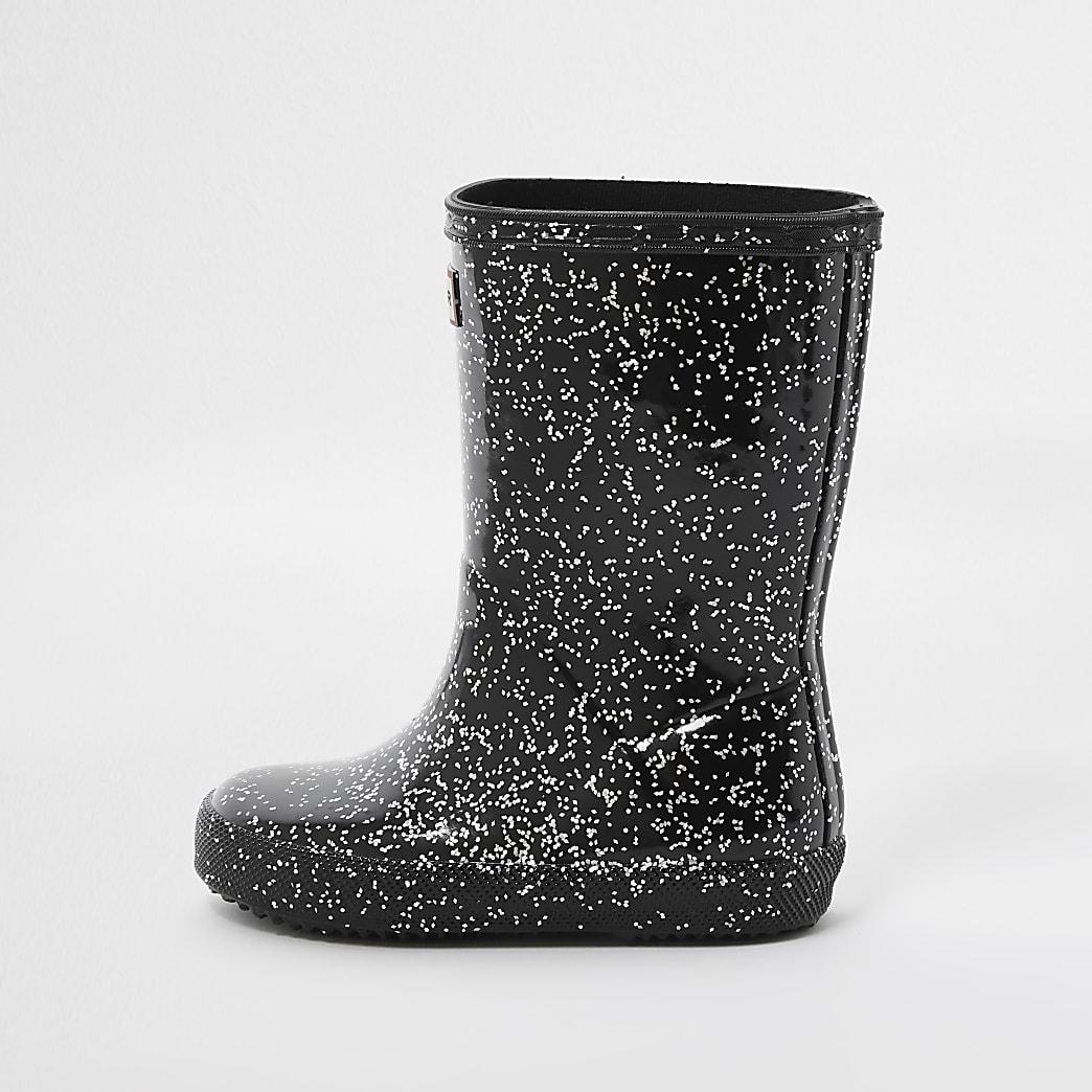 Mini girls Hunter black glitter wellie boots