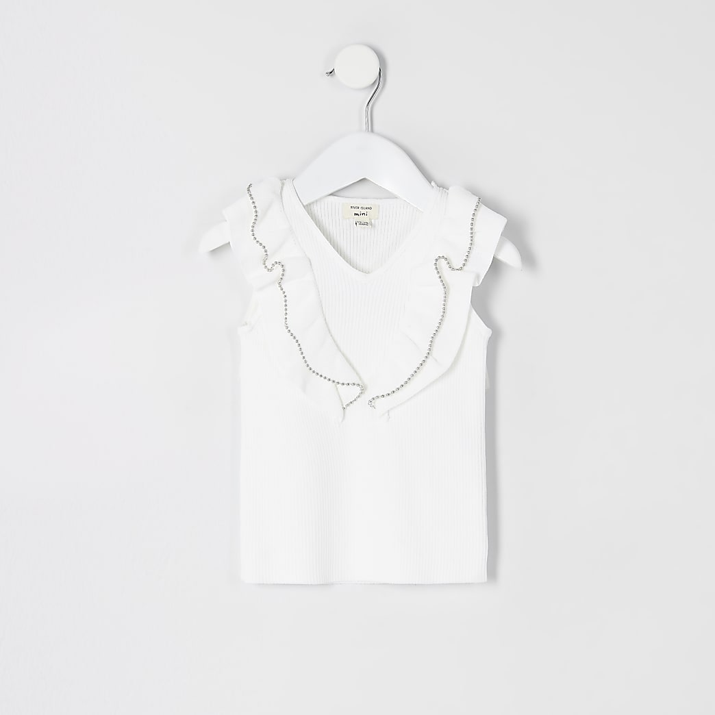 Mini girls ivory bead trim frill knitted top