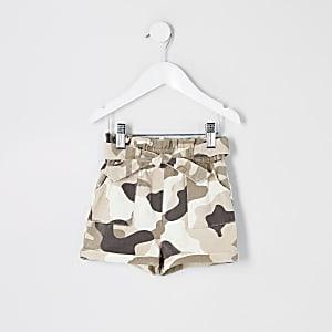 Mini - Kaki camouflage shorts met geplooide taille voor meisjes