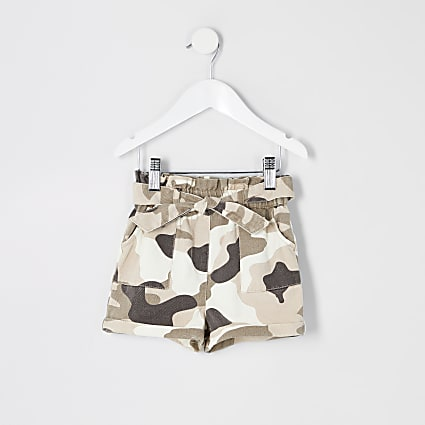Mini girls kahki camo paperbag shorts