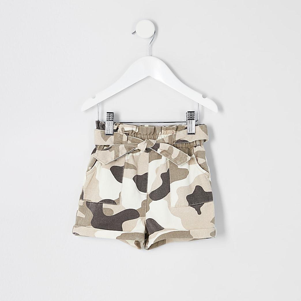 Mini girls kahki camo paperbag shorts