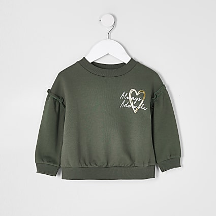 Mini girls khaki 'Adorable' sweatshirts