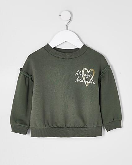 Mini girls khaki 'Adorable' sweatshirts