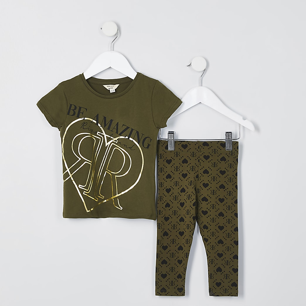 Mini girls khaki amazing print legging set