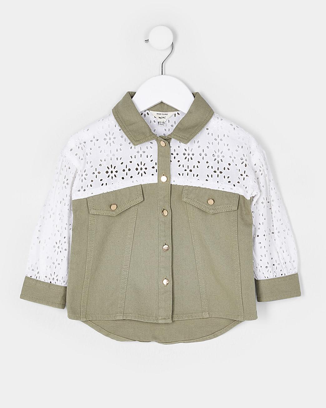 Mini girls khaki broderie shacket