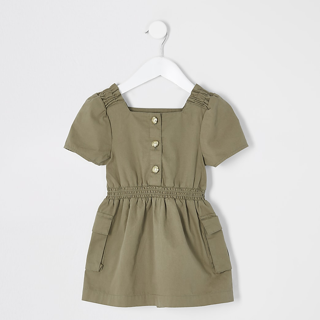 Mini girls khaki button front utility dress