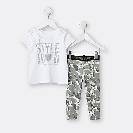 Mini girls khaki camo frill t-shirt outfit
