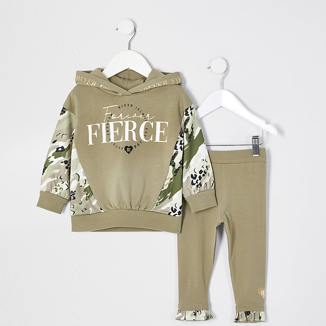 Mini girls khaki camo hoodie legging outfit