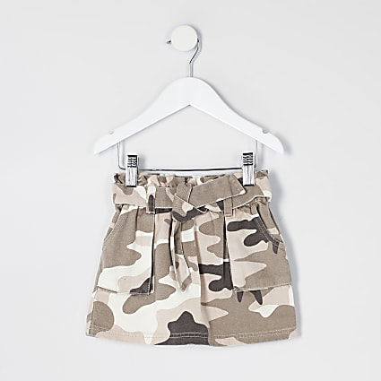 Mini girls khaki camo paperbag denim skirt