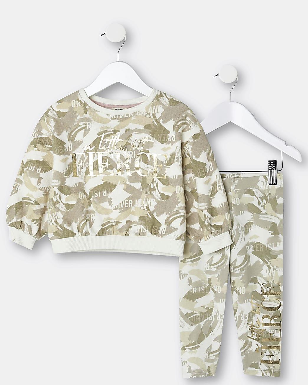 Mini girls khaki camo sweatshirt outfit