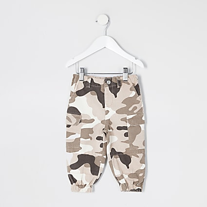 Mini girls khaki camo utility trousers