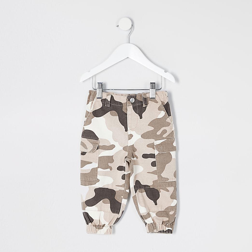 Mini girls khaki camo utility trousers