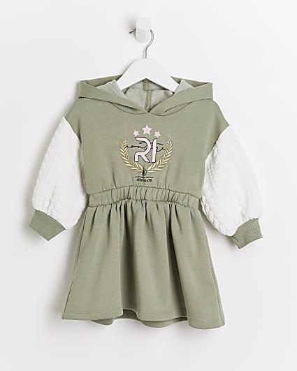 Mini girls khaki cinched waist sweater dress