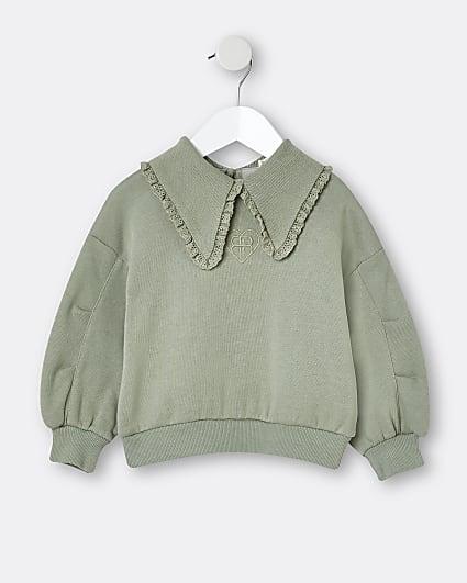 Mini girls khaki collar sweatshirt