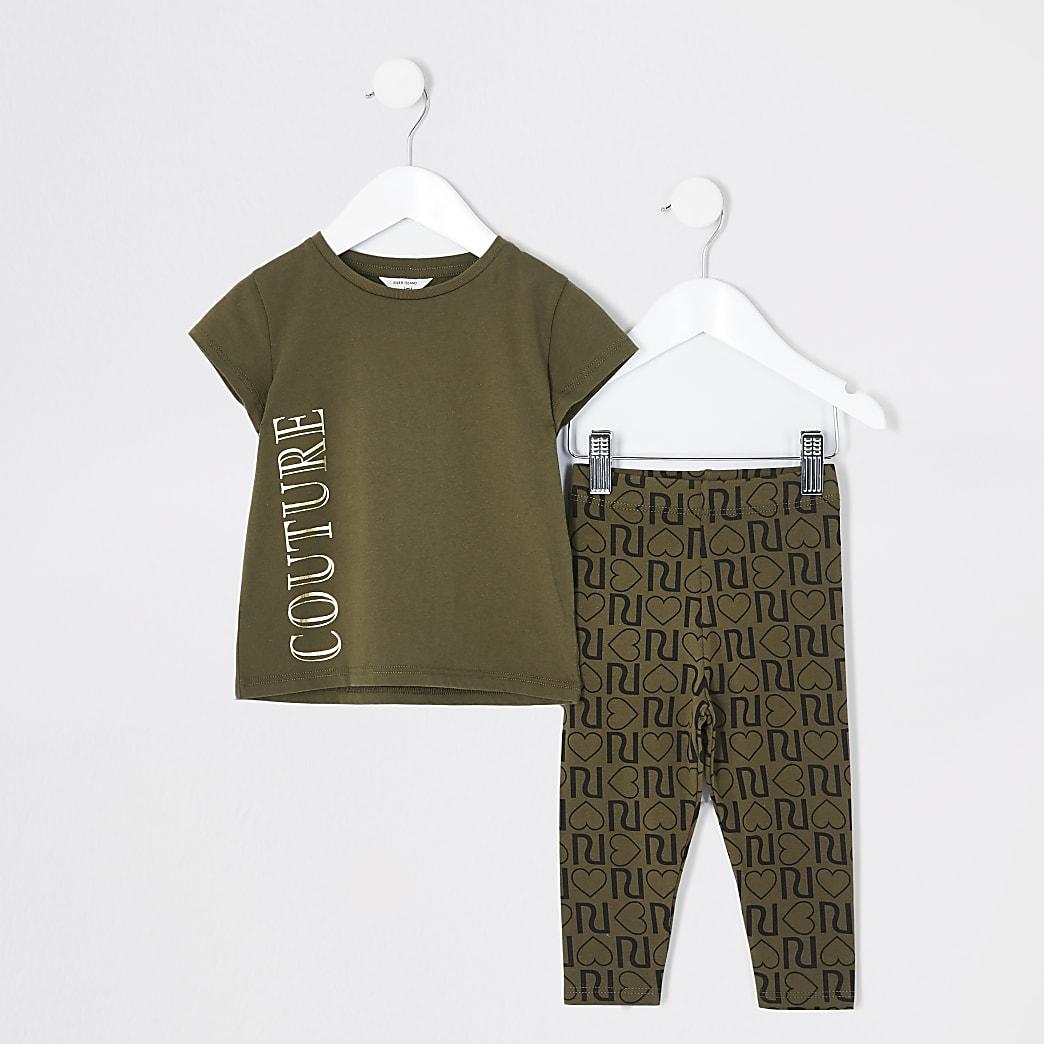 Mini - Kaki outfit met T-shirt met 'Couture'-print voor meisjes