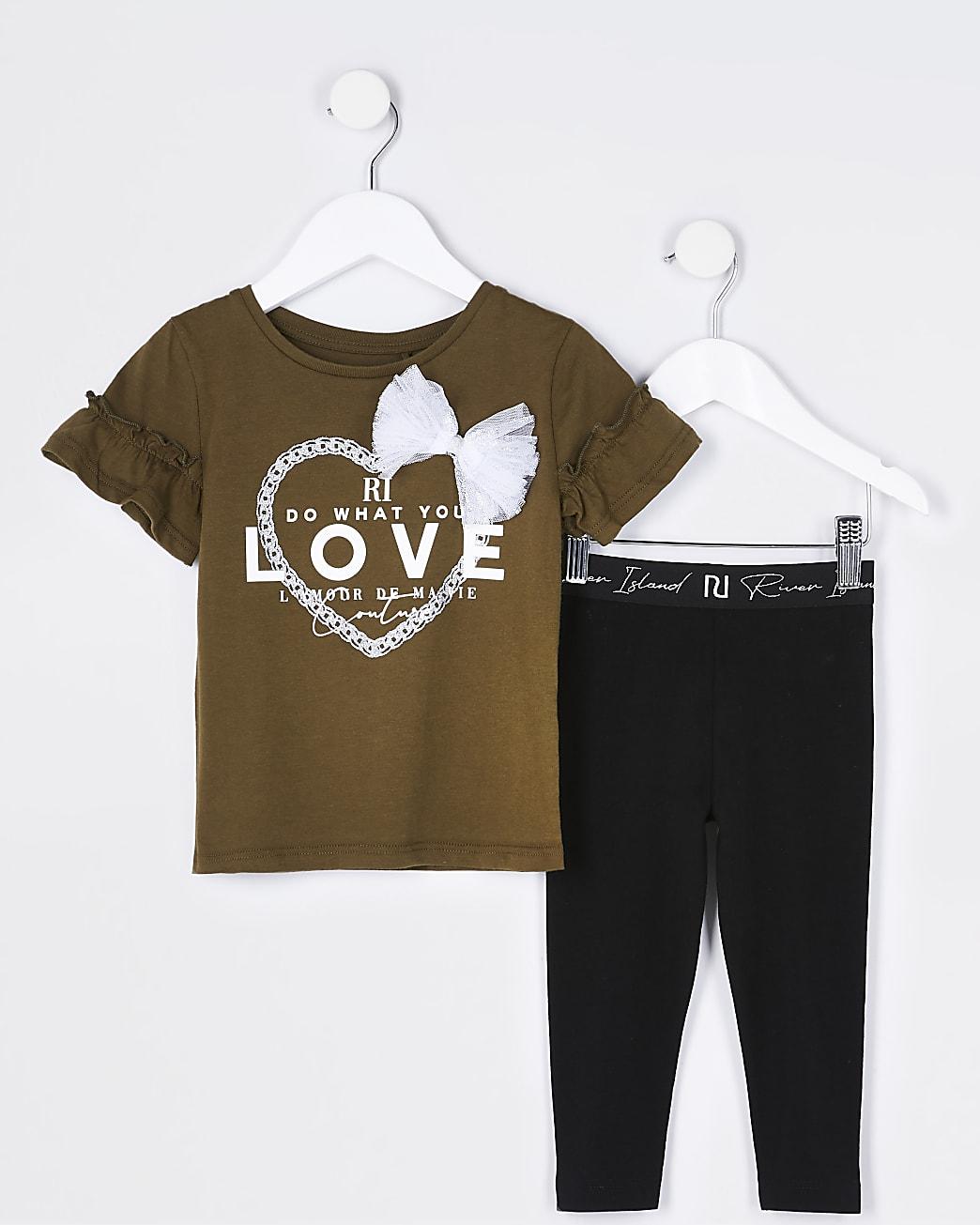 Mini girls khaki 'do what you love' outfit