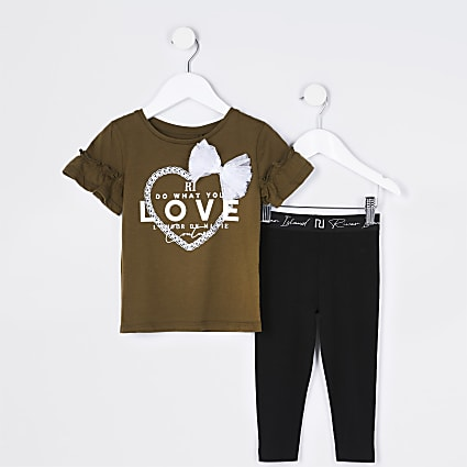Mini girls khaki 'do what you love' outfit