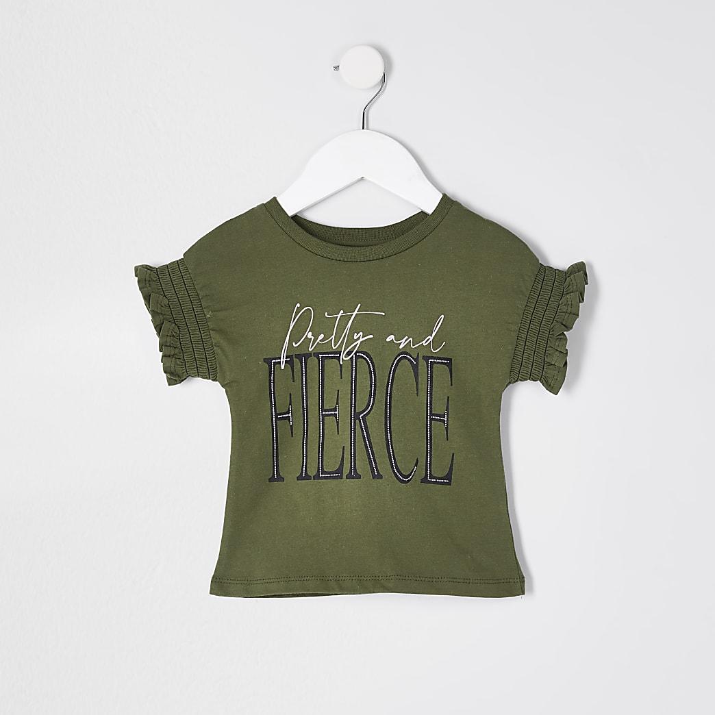 Mini girls khaki 'Fierce' frill t-shirt