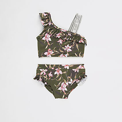 Mini girls Khaki floral one shoulder bikini