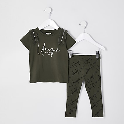 Mini girls khaki frill detail t-shirt set