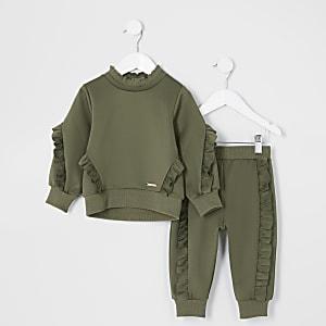 Mini - Outfit met kaki sweatshirt met ruches voor meisjes