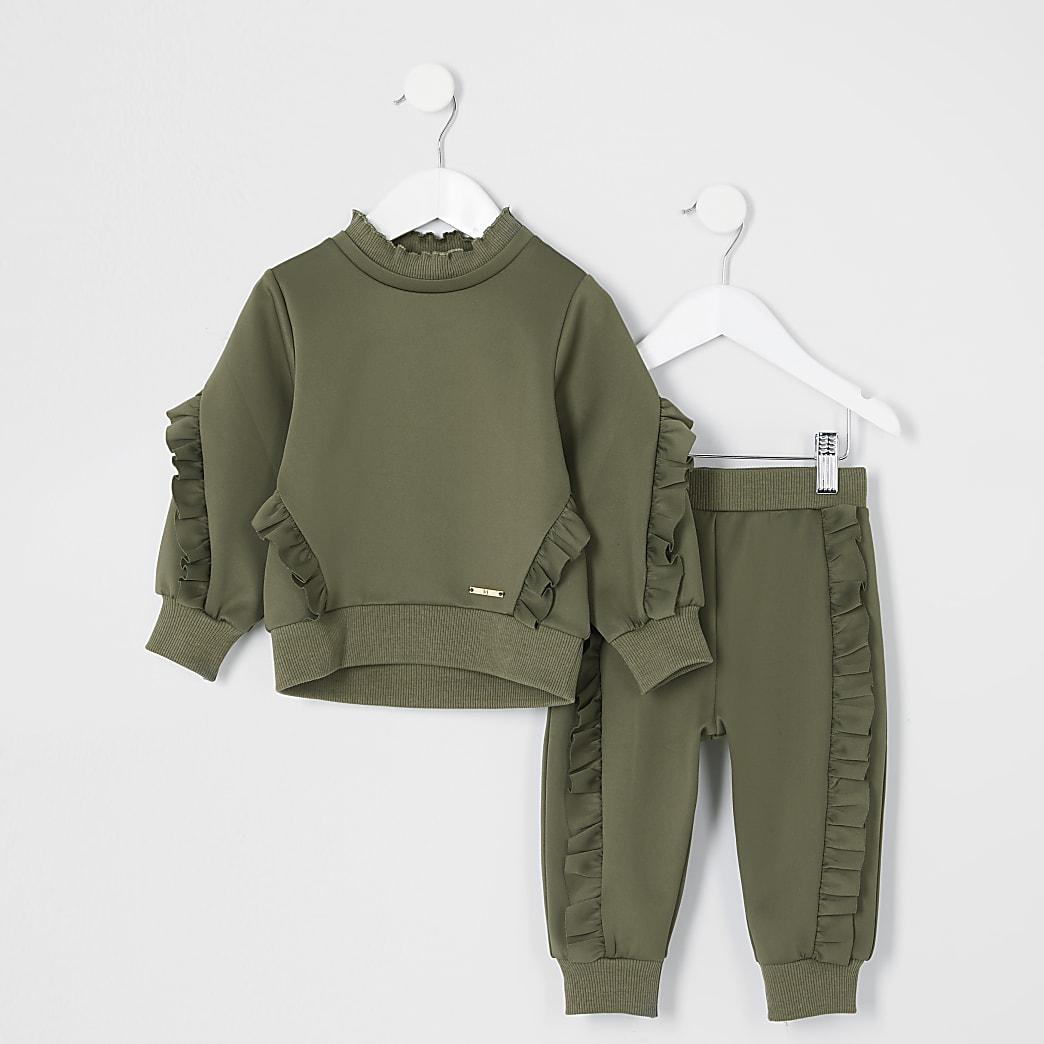 Mini girls khaki frill sweatshirt outfit