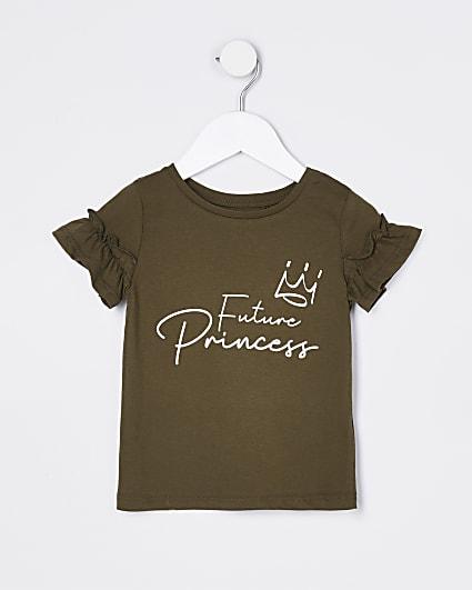 Mini girls khaki 'Future Princess' t-shirt