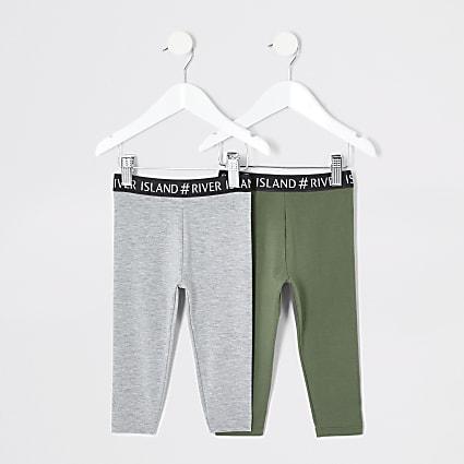 Mini girls khaki grey RI leggings multipack