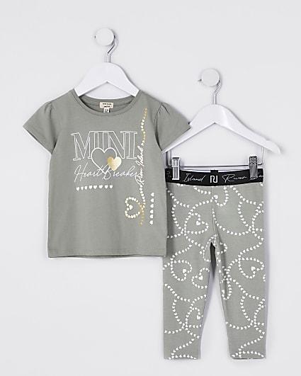 Mini girls khaki 'Heartbreaker' t-shirt set