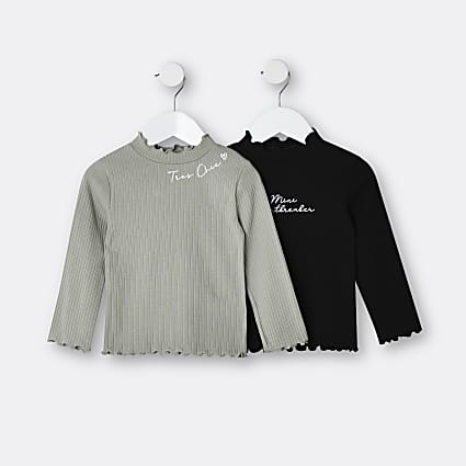 Mini girls khaki high neck ribbed tops 2 pack