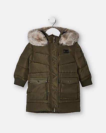 Mini girls khaki hooded longline puffer coat