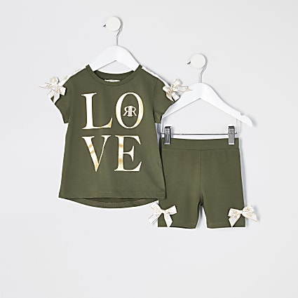 Mini girls khaki 'Love' bow T-shirt outfit