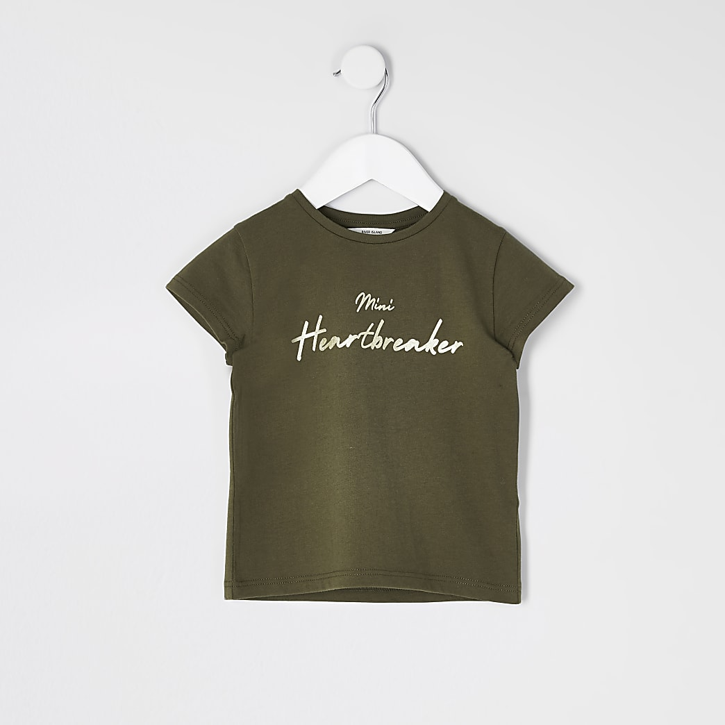 Mini girls khaki 'Mini heartbreaker' T-shirt