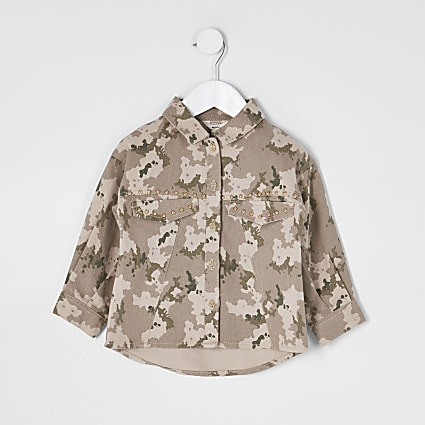 Mini girls khaki oversized camo stud shacket