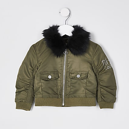 Mini girls khaki padded bomber jacket