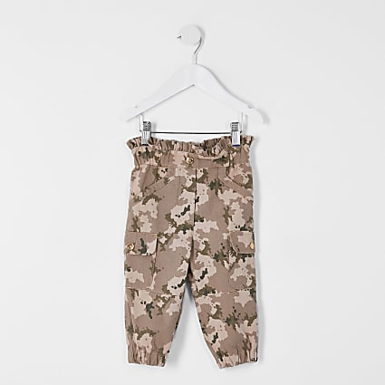 Mini girls khaki paperbag camo trousers