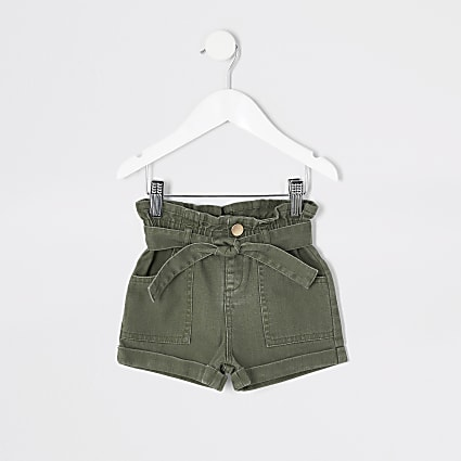 Mini girls khaki paperbag denim shorts